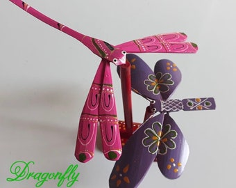 Multicolor Bamboo Dragonfly Vietnam Handmade Toy Gift Bamboo Dragonfly Hanoi
