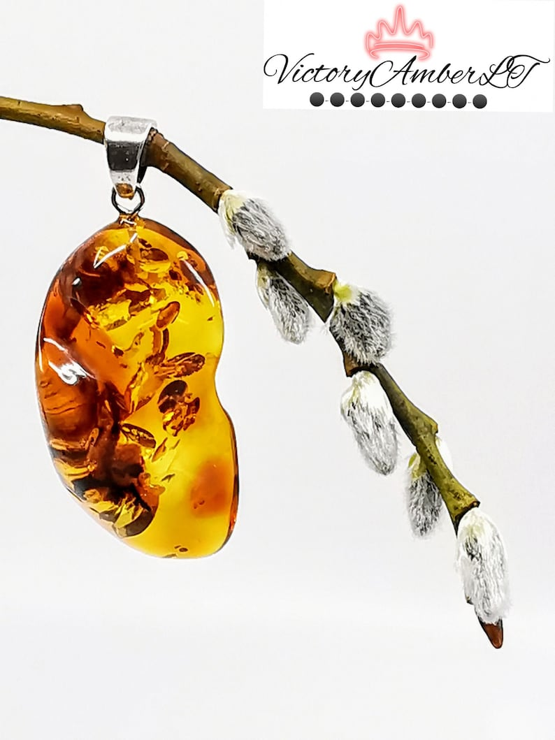 Amber Gift Amber Pendant Baltic Amber Pendant Amber Jewelry Amber Pendant with Sterling Silver