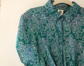 Vintage 80s 90s shirt and skort set / Batik shirt and matching skort / Vintage cotton shirt and skort  / Green and purple printed cotton set