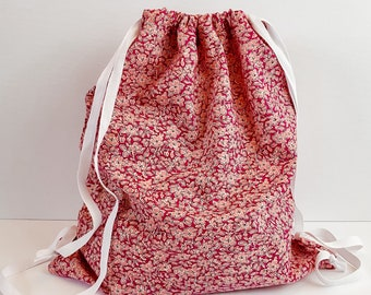 Liberty of London cotton cinch backpack | Liberty floral fabric cinch sack | Summer floral cinch bag |Backpack purse for for girl woman