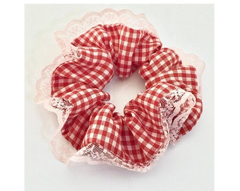 Vintage-inspired scrunchies | Lace trimmed scrunchies | Red gingham scrunchie | Pink scrunchie | Liberty of London soft cotton scrunchies