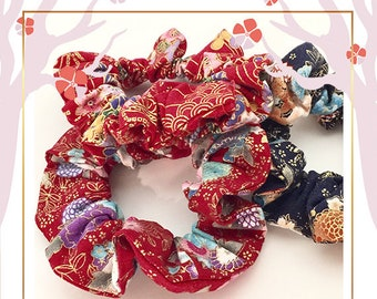 Japanese inspired scrunchies | Spring floral hair accessories | Japanese print fabric scrunchies | Cotton scrunchies | Gift for teenage girl