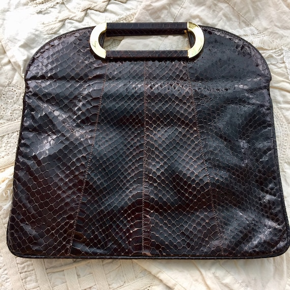 Snakeskin and leather handbag / Vintage snakeskin