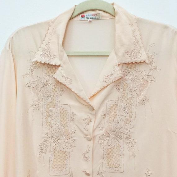 Vintage embroidered silk pyjama top