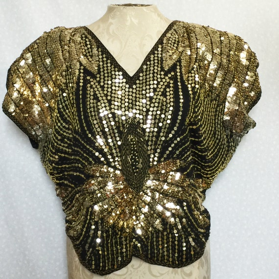 Vintage butterfly disco top // Sequined gold top /