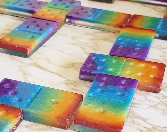 Domino Set - Sparkles with White Dots - Custom Options Available Too! - Made In Resin