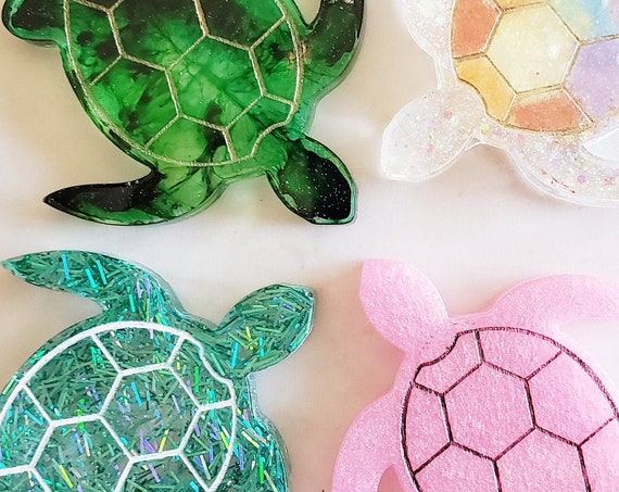 Turtle with Gold Lines - Magnet Options Available - Made In Resin