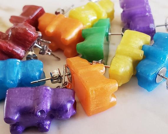 Rainbow Gummy Bear Earring Stud - Set of 6 - Red, Orange, Yellow, Green, Blue, Purple - Earrings Made of Resin