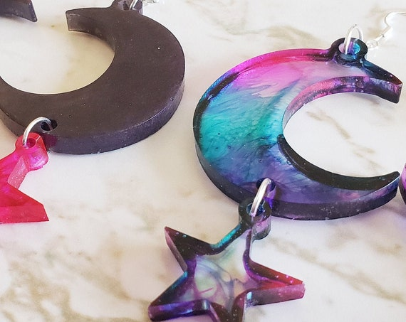 Crescent Moon & Stars Drop Earrings - Pink, Black, Cosmic, Glitter Earrings Made of Resin