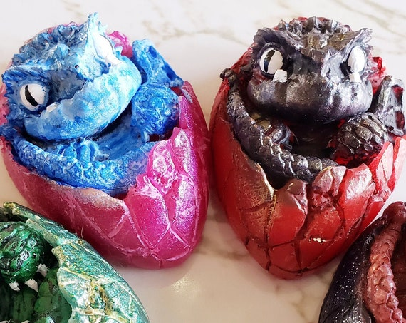 Dragon Hatchling - Textured and Detailed Baby Dragon Hatching - Made In Resin - Magnet Options Available