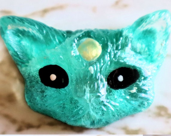 3 Eyed Cat Head - Necklace or Magnet Options Available - Halloween