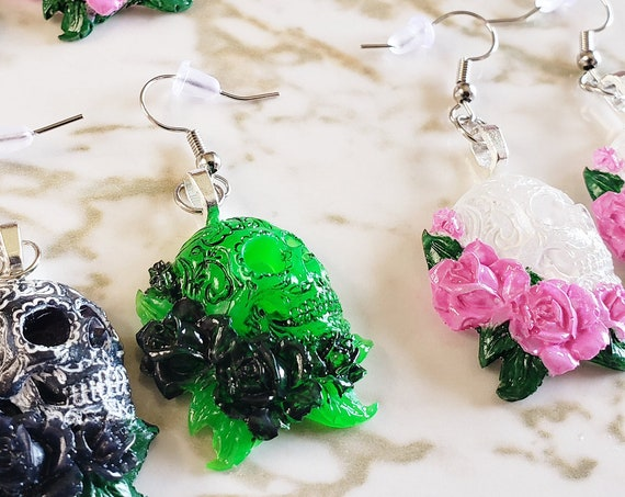 Skulls with Flowers - Earring Sets - Pink, White, Green, Black, Red - Earrings Made of Resin