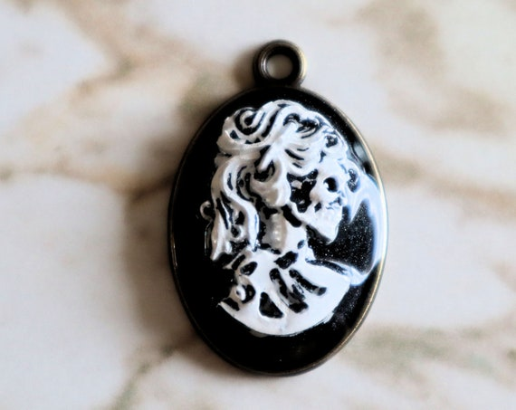 Cameo with Skeleton Lady - Necklace - Black and White with metal backing - Halloween