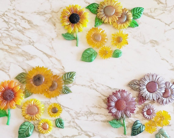 Sunflower Set of Magnets - Set of 5 Flowers - Magnet - Resin