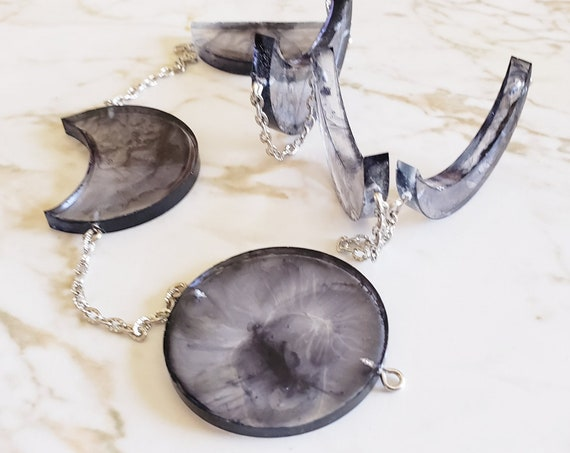 Moon Phases On Chain - Crescent Moon Decor - Made of Resin