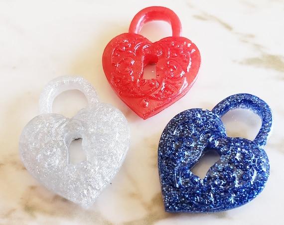 Heart Locket Magnets - Heart Locket -  Set of 3 - Magnet - Made In Resin