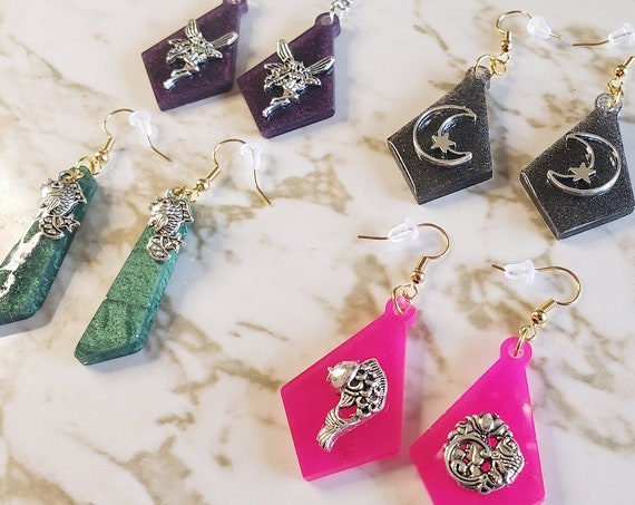 Earrings with Metal Charms - Charms and Earrings - Fish, Moons, and Fairies - Earrings Made of Resin
