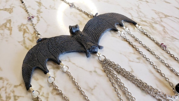 Gothic Bat Necklace with Chains - Resin Necklace