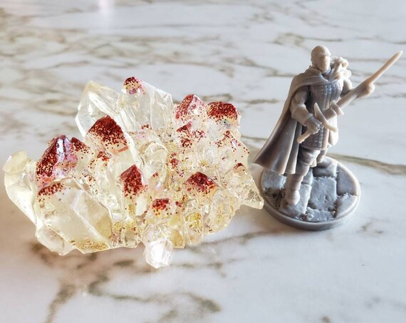 Crystal Cluster with Red and Gold Glitter Inside - Clear with red and gold glitter - Made in Resin