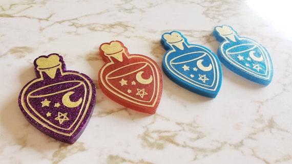 Heart Potion Bottle - Magnet or Flat Options - Purple, Red, Blue, Blue Sparkles - Halloween - Trinkets and Knick Knacks