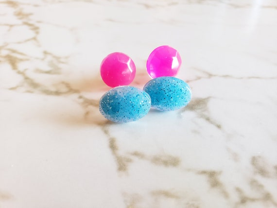 Heart and Oval Earring Stud Sets - Pink, Purple, Blue - Earrings Made of Resin