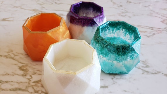 Geometric Bowl - Tea Light Holder or Trinket Holder - Made in Resin