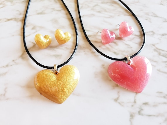 Large Heart Earring and Necklace Set - Earring & Necklace - Choose your cord color