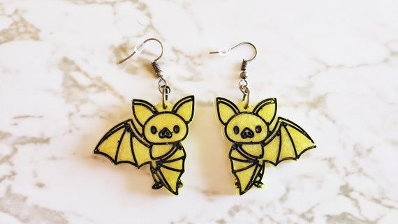 Cute Bat Earrings - Bats hanging upside down, wing out or just a face - Black, Orange, Yellow, Purple - Halloween - Earrings