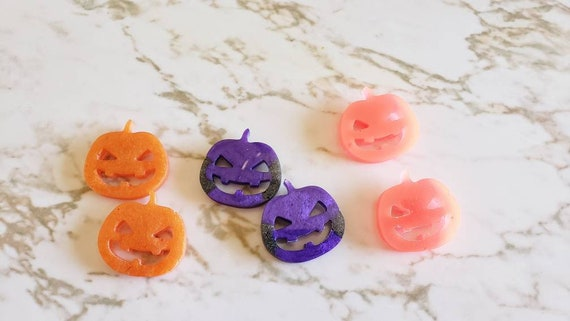 Jack o' Lantern Magnets - Set of 2 Pumpkins - Orange and Purple - Halloween - Magnets