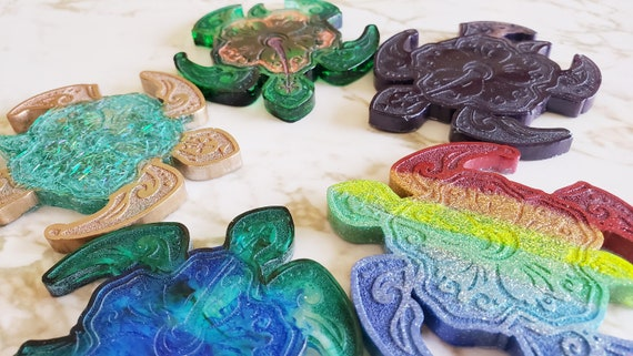 Turtle with Flower Shell - Flat - Magnet Options Available - Made In Resin