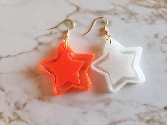 Stars Earrings - Orange and White - Earrings Made of Resin