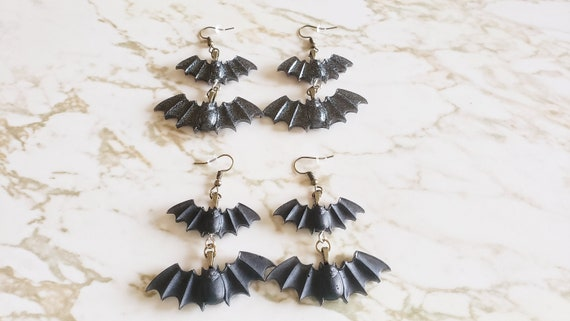 Bat Earrings - 2 Bats Stacked - Black - Halloween - Earrings