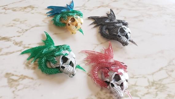 Dragon Sitting On Skull Magnet - Halloween - Magnets - Made of Resin