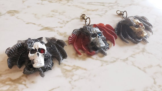 Dragon and Skull Charm and Magnet - Magnet & Charm Options - Halloween - Trinkets and Knick Knacks