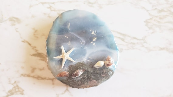 Shells On Water Covered Wood Round - 3D Decor - Made With Resin and Wood