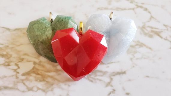 Heart Gem Pendant - Necklace - Choose your cord color N145