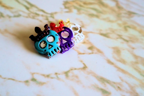 Trio of King Skulls Magnets - Blue, White and Purple Cartoon Style King Skull Trinkets and Knick Knacks