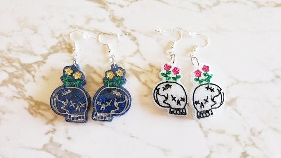 Cute Skull Planter Earrings - Skulls with Flowers Growing Out of Them - Halloween - Earrings