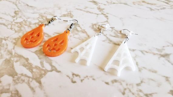 Jack o' Lantern and Spiderweb Earrings - Orange Jack O' Lantern or White Spider Web - Halloween