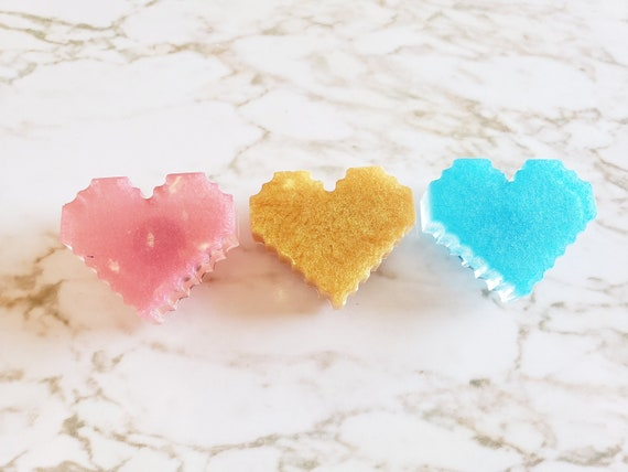 Pixelated Heart Magnets - Set of 3 - Resin