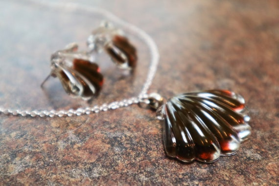 Coffee Drops  - Resin Shell Necklace and Earring Set