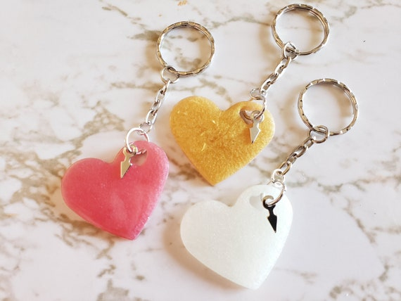 Heart With Arrow Keychains - Set of 3 - Made in Resin