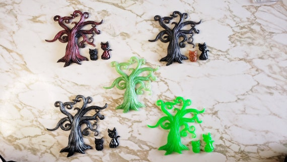 Spooky Tree with Cat and Owl Magnet Set - 1 tree, cat, and owl display - Halloween - Magnets