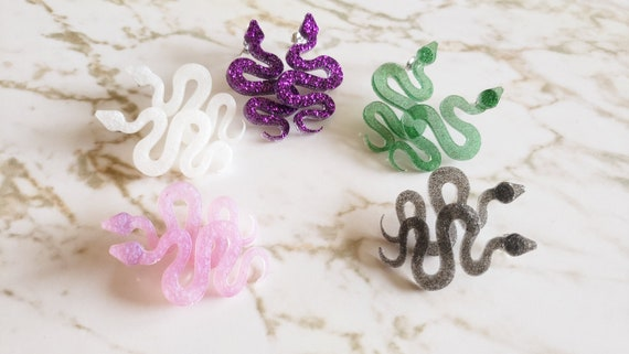 Small Snake Earrings - Snake Style Earrings - Black, Pink, White, Purple, and Green - Halloween - Earrings