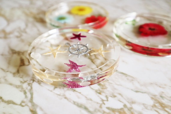 Flowers and Stars - Mixed Coaster Set - Resin Coaster