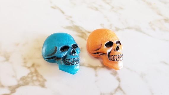 Skull Heads - Magnets - Skeleton - Blue & Orange - Halloween