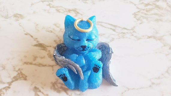 Cat Angel with Halo and Wings - 3D Cat Angel Figure -  Made in Resin
