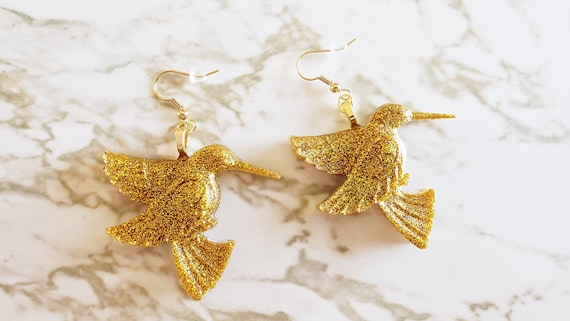 Humming Bird Earrings - Custom Options Available - Made In Resin