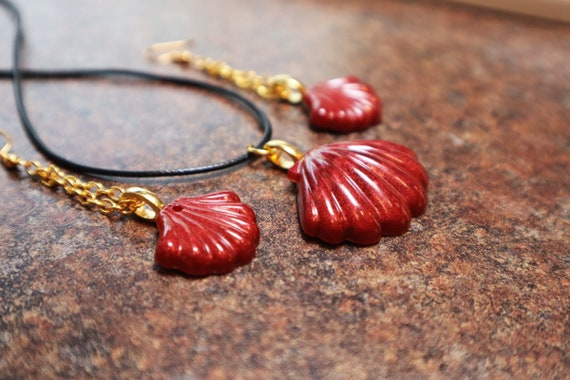 Shimmer Copper Shell - Resin Shell Necklace and Earring Set