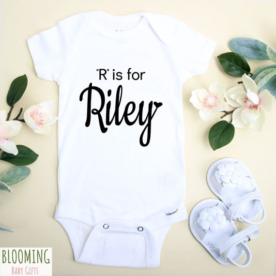 R Is For Riley Onesie® Pregnancy Announcement Birth in the unisex baby names post